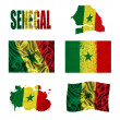 Senegal flag collage — Stock Photo