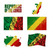 Republic of the Congo flag collage — Stock Photo