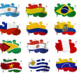 Stock Photo: South America countries flag blots