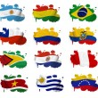 Stock Photo: South Americcountries flag blots