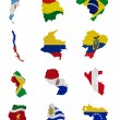 Stock Photo: South Americcountries flag maps