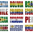 Stock Photo: South America countries flag words
