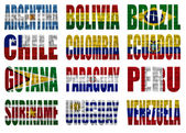 South America countries flag words — Stock Photo