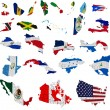 Stock Photo: North Americcountries flag maps