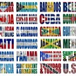 North America countries flag words - Stock Photo