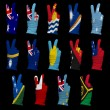 National flags of  Oceania ,victory sign — Stock Photo