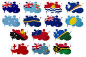 Oceania countries flag blots — Stock Photo