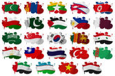 Asia countries flag blots Part 2 — Stock Photo