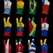 Stock Photo: National flags of South America ,victory sign