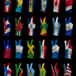 Stock Photo: National flags of North America ,victory sign