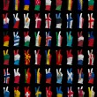 Stock Photo: National flags of Europe ,victory sign