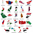 Stock Photo: Asicountries flag maps Part 2