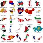 Asia countries flag maps Part 1 — Stock Photo