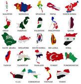 Asia countries flag maps Part 2 — Stock Photo