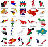 Asia countries flag maps Part 1 — Stock Photo