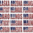 American States From A to M  flag words — Stock Photo
