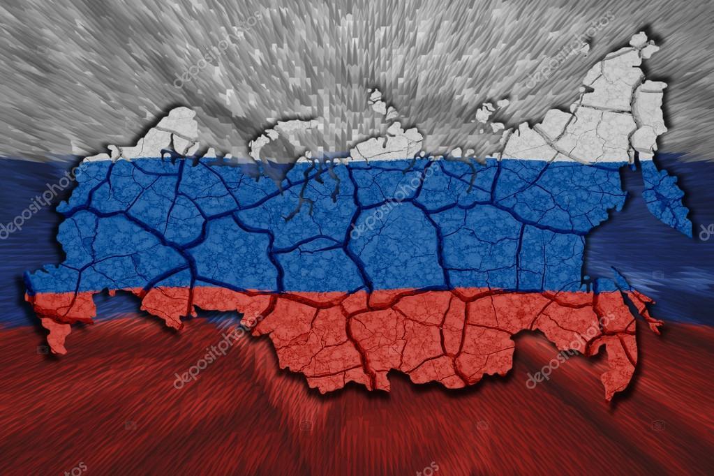 国旗颜色的俄罗斯地图