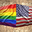 United States of America and Rainbow flags — Stock Photo