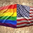 United States of America and Rainbow flags — Stockfoto