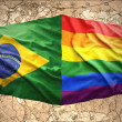 Brazilian and Rainbow flags — Stock Photo