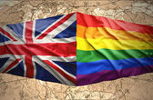 British and Rainbow flags — Stock Photo