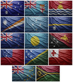 Flags of all Oceania countries, Collage — Stock Photo