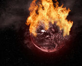 Planet on fire — Stock Photo