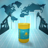 Oil barrel with Kazakhstan flag — Stock Photo