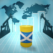 Oil barrel with Scottish flag — Стоковое фото