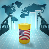 Oil barrel with United States of America flag — Stok fotoğraf