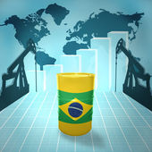 Oil barrel with Brazilian flag — Stock Photo