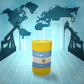Oil barrel with Argentinean flag — Stock Photo