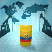 Oil barrel with Ecuadoran flag — Stock fotografie