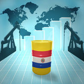Oil barrel with Paraguayan flag — Stock Photo
