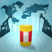 Oil barrel with Peruvian flag — Stock Photo