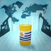 ウルグアイの旗と石油バレル — ストック写真