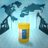 Oil barrel with Canarian flag — Stock Photo