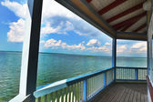 Sea view from the wooden terrace — Stock Photo