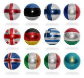 European countries (From E to K) flag balls — Stock Photo