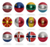 European countries (From L to P) flag balls — Stock Photo
