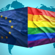 Waving European Union and Gay flags — Stock Photo #51347469