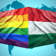Waving Hungarian and Gay flags — Stock Photo #51347507