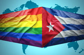 Waving Cuban and Gay flags — Stock Photo