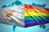 Waving Cypriot and Gay flags — Stock Photo