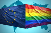 Waving  European Union and Gay flags — Stock Photo