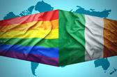 Waving Irish and Gay flags — Stock Photo