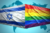 Waving Israeli and Gay flags — Stock Photo