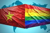 Waving Vietnamese and Gay flags — Stock Photo