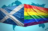 Waving Scottish and Gay flags — Stock Photo