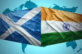 Waving Scottish and Indian flags — Stock Photo